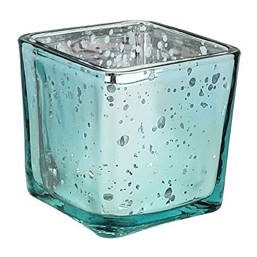 Just Artifacts Mercury Glass Square Votive Candle Holder 2-Inch (1pcs, Speckled Aqua)