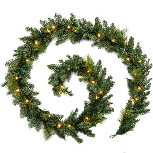 WeRChristmas Pre-Lit Garland Christmas Decoration Illuminated with 40 Warm LED Lights, Green, 9 feet