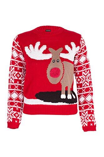 NOROZE Jungen Mädchen Unisex Weihnachten 3D Pullover Kinder Xmas Sankt Schneemann Rentier Pinguin Pullover Pulli (Rentier Rot, 9-10 Jahre)
