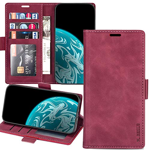 XYX Wallet Case for Redmi Note 10, Xiaomi Note 10 Case with Credit Card Slot Purse, Leather Flip Case Cover for Redmi Note 10 - Wine