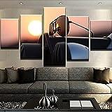 XZWYB 5 Piezas Decor Salon Murales Juego de lienzos de Gafas de Sol Puesta del Sol Pasillo Decor Arte Pared Enmarcado HD Impresión Regalo (Enmarcado Tamaño 200x100cm)