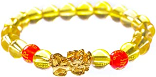 Porsperity Feng Shui Crystal Bead Bracelet with Golden Pi Xiu/Pi Yao Attract Wealth and Good Luck