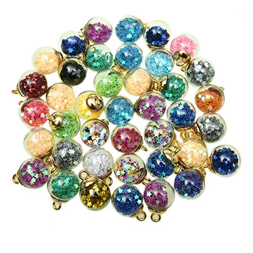 Pomeat 40pcs Crystal Glass Ball Colorful Charms with Star DIY Pendant Charms