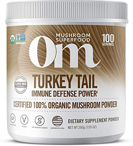Om Organic Mushroom Superfood Powder, Turkey Tail, 7.05 Ounce (100 Servings), Immune Support, Gut Health & Holistic Defense Supplement