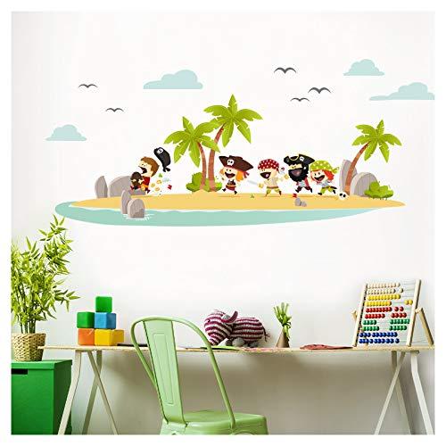 Little Deco Wandaufkleber Piraten Insel & Schatz I Wandbild L - 110 x 46 cm (BxH) I Wandtattoo Kinderzimmer Junge Aufkleber Babyzimmer Deko Baby Sticker DL331