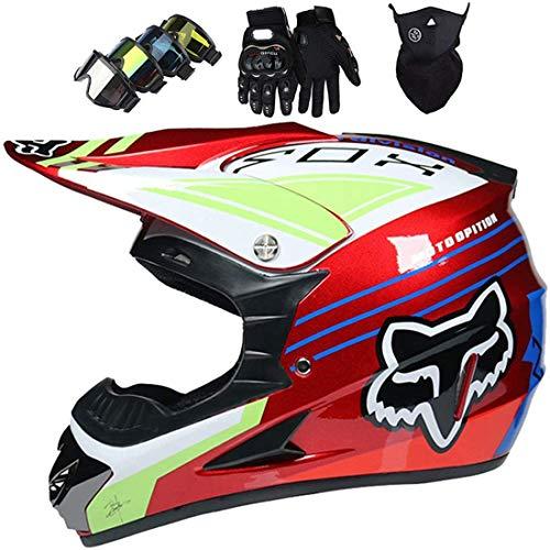 Full Face MTB Helmet, Kids Motocross Helmet with Goggles Gloves and Mask, Kids Motorbike MX Helmet Set with Fox Design, DOT and ECE Certification