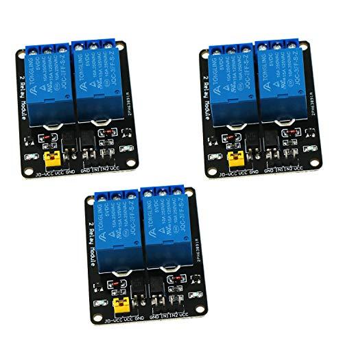 Waycreat 2 Kanal Relais Modul 5V Optokoppler Relay für Arduino Raspberry Pi, 3 Stück