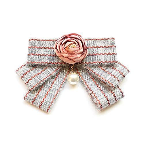 TAIYUANNT Corbata Corbata Coreano Arte Corbata Arco Broche Flores Perla Bowtie Collar Pin Moda broches joyería Regalos de Lujo para Mujeres Accesorios Corbata (Metal Color : 2)