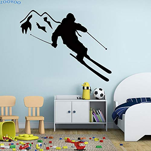 JXFM 120x98cm can be customized skier ski wall stickers extreme sports home decoration living room decoration children's removable wall stickers nursery