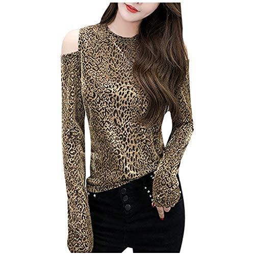 Best Bargain TUU Women O-Neck Long Sleeve Strapless Shoulder Tops Leopard Print Slim Blouse Tops Bas...