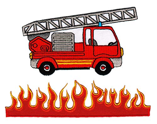 Bestellmich 2er Set Feuerwehr Leiterwagen und Feuer Flammen Aufnäher Bügelbild Patch