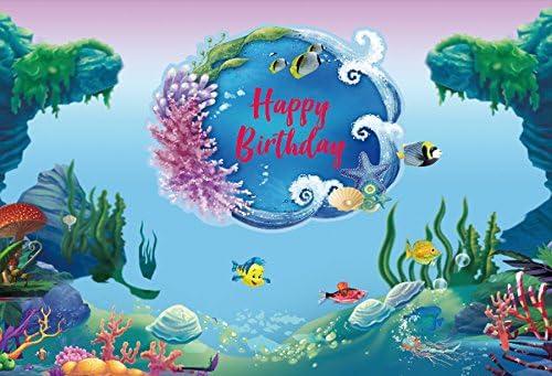 YEELE 10x8ft Under The Sea Backdrop Fairy Tale Underwater Castle Kingdom Photography Background 1st Birthday Cake Smash Banner Cartoon Palace Sea World Decoration Photo Studio Props Wallpaper