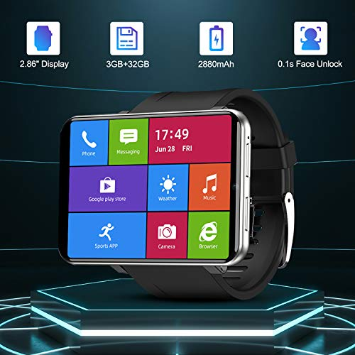 """TICWRIS Andriod Smart Watch, GPS Android Smartwatch, 4G LTE with 2.86"""" Touch Screen, Face Unclok Phone Watch with 2880mAh Battery, IP67 Waterproof,3GB+32GB Andriod Watch for Men(Silver)"""