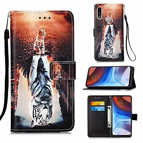CRABOT Cover Motorola Moto E7 Power Custodia per Telefono Anti-Caduta Clamshell Conchiglia Pelle PU Con Slot per Schede Portafoglio Case Colore Modello -(Gatto e Tigre)