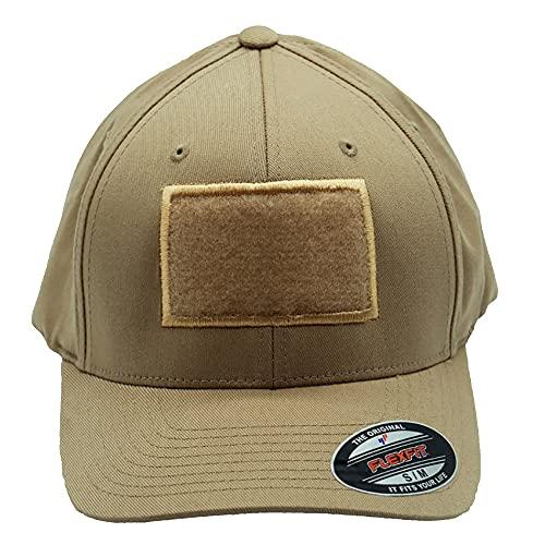Café Viereck ® Unisex Cap Wooly Combed – mit Flauschfläche für Klett Patches (9 x 6 cm) – für Männer und Frauen (Sand S/M)