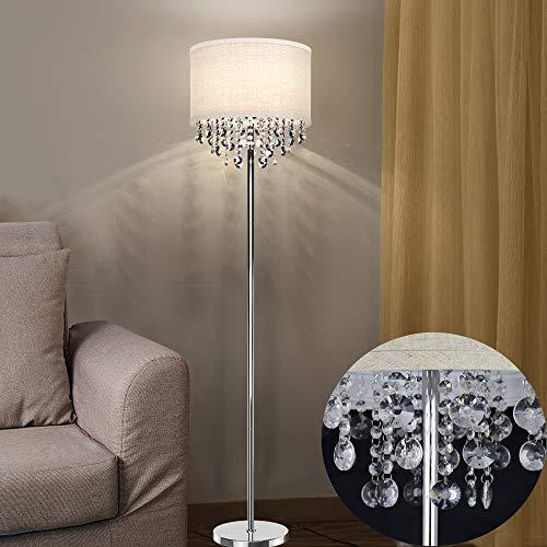 Depuley LED Stehlampe Wohnzimmer Kristall, Modern Led Stehleuchte mit Fußschlter,Standleuchte mit 9W 3000K Warmweiß Birne für Dekoration, Schlafzimmer, Esszimmer, Wohnzimmer, Büro