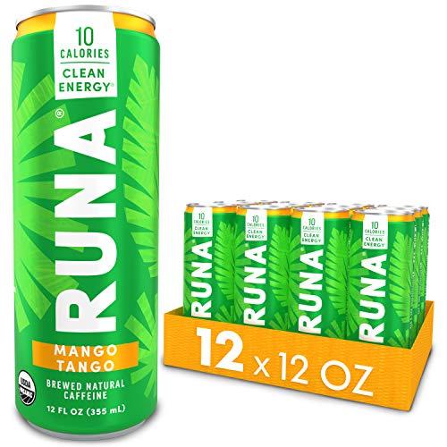 Organic Clean Energy Drink by RUNA, Mango Tango | Refreshing Tea Taste | 10 Calories | Powerful Natural Caffeine | Healthy Energy & Focus | No Crash or Jitters | 12 Oz (Pack of 12)