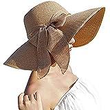 DRESHOW Femmes Big bowknot paille capeline pliable rouleau plage Cap Chapeau de soleil UPF 50+