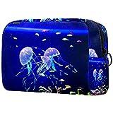 Bolsa de cosméticos Bolsa de Maquillaje para Mujer para Viajar Llevar cosméticos Cambiar Llaves, etc.,Acuario con Medusas Azules