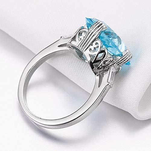 DJMJHG Anillos de topacio místico Azul Marino para Mujer, Plata de Ley 925 sólida, joyería Fina, Anillo de Piedras Preciosas, tamaño 6-10 10 Azul