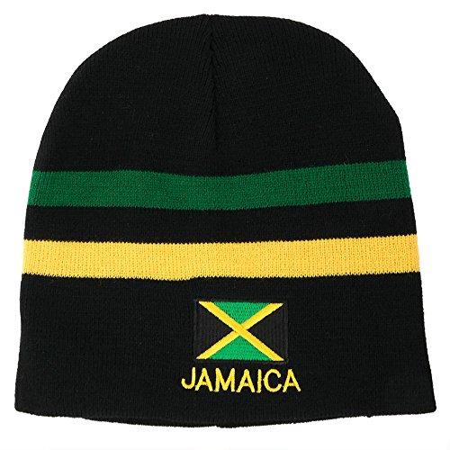 Armycrew Beanie-Mütze mit Jamaika-Flagge, Bestickt, kurz, Grün/Gelb - Schwarz - Einheitsgröße
