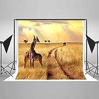 Wbw子供写真スタジオのための7x5ft / 2.1×1.5メートルのジャングルサファリの背景秋の写真の背景の自然風光明媚なキリン洗えるの背景
