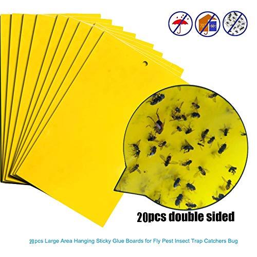 Rameng Lot de 20 Pièges Autocollants Jaunes Sticky Papiers Pièges à Insectes Anti Moucheron et Mouche (A,20PCS)