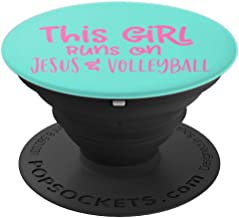 THIS GIRL RUNS ON JESUS AND VOLLEYBALL For Christian - PopSockets Grip and Stand for Phones and Tablets
