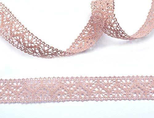 Spitzenband Altrosa 5 m x 25 mm Spitze Baumwollspitze Häkelband Spitzenborte Hochzeit Dekoband Geschenkband Schleifenband Landhaus Vintage Deko