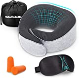 SGODDE Travel Pillow, Updated Memory Foam Neck Pillow, Portable Flight Pillow Travel Kit