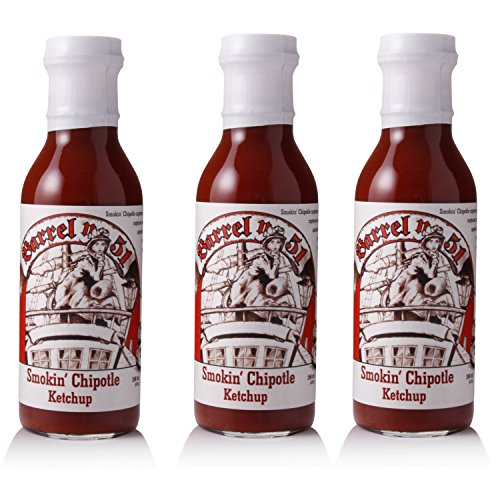 Barrel No. 51 Smokin' Chipotle Ketchup Set, rauchige BBQ-Sauce mit süßlichem Aroma, pikanter Gewürz-Ketchup für das Barbecue, 3 Stück