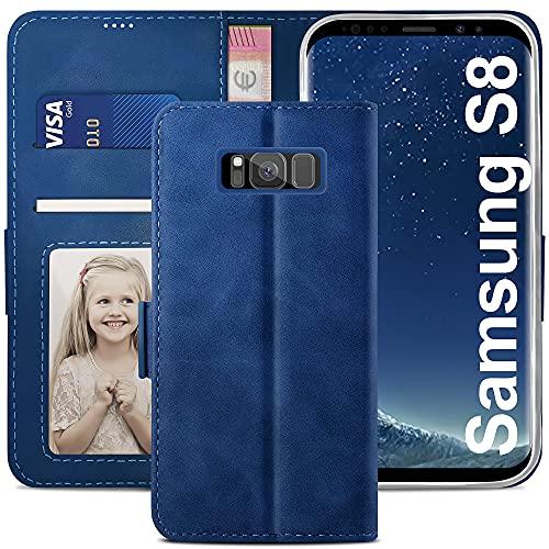 YATWIN Cover per Samsung Galaxy S8, Flip Custodia Portafoglio in Pelle Premium Slot, Interno TPU Antiurto, Supporto Stand, Stile Libro e Chiusura Magnetica per Samsung Galaxy S8 Case Caso - Blu