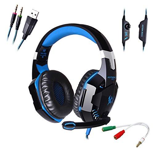 AFUNTA G2000 Stereo Auriculares para Juegos para PS4 PC con micrófono, audífonos superpuestos para bajo…
