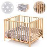 Playpen mat - Stars pattern - 100 x 100 cm or 75 cm x 100 cm - 100 % cotton