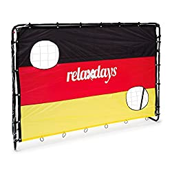 Relaxdays football goal with goal wall Germany, HxWxD: 150 x 210 x 75 cm, 2 shot holes, made of metal, black-red-gold