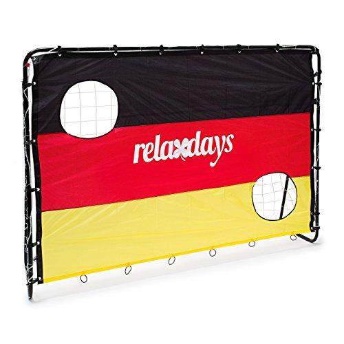 Relaxdays Fußballtor mit Torwand Deutschland HBT 150 x 210 x 75 cm Torschusswand Germany in Landesfarben mit 2 Löchern fürs Fußballtraining und Schusstraining mit Metall Rahmen, Schwarz-Rot-Gold