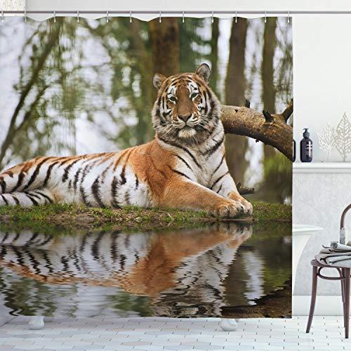 ABAKUHAUS Tiger Duschvorhang, Sibirischer Säugetier-Warmer Tag, mit 12 Ringe Set Wasserdicht Stielvoll Modern Farbfest & Schimmel Resistent, 175x220 cm, Hellbraun