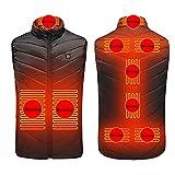 ZLZNX Unisexo Calefactable Chaleco Invierno Hombre Mujer Ligero Chaleco Calentador Eléctrico con Batería USB para Acampada Senderismo,Black Zone 9,S