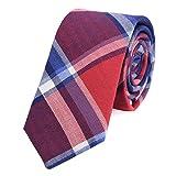 DonDon Corbata de cuadros e rayas de algodón para hombres de 6 cm - rojo azul