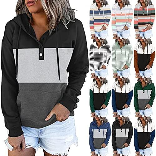Women's Casual Pullover Hoodies Button Down Crewneck Sweatshirts Drawstring Long Sleeve Sweatshirts Tops with Pockets