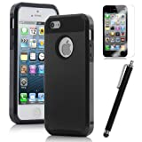 Pandamimi Dexule Black Fashion Sweety Girls TPU + PC 2-Piece Style Soft Hard Case Cover for iPhone 5 5G with Screen Protector and Stylus