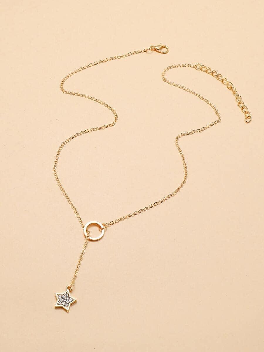 AXJTNL Necklace Pendant Star Charm Y Lariat Necklace (Color : Gold)