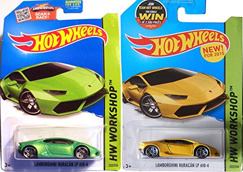 Lamborghini Huracán LP 610-4 - Juego de ruedas calientes (2 coches, color verde + amarillo HW Workshop Garage 2015 #222 en fundas protectoras)