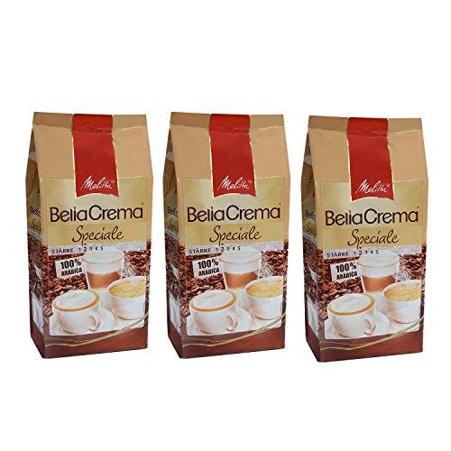 Melitta BellaCrema Speciale, 100 % Arabica, Ganze Kaffeebohnen, 1000g, 3er Pack (3 x 1kg)