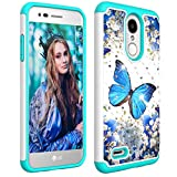 Ithuriel for LG K8 2018 Case,Aristo 2 Plus Case,Cute Diamond Bling Luxury Glitter Sparkle Rhinestone Crystal Hybrid Dual Layer Cover for LG Aristo 2/K8 2018 Blue Butterfly
