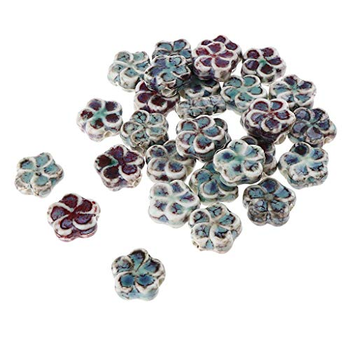 Jewelry 30PCS 13 x 13 x 3mm Ceramics Porcelain Flower Spacer Beads Big Hole Loose Beads for DIY Jewelry Making Findings
