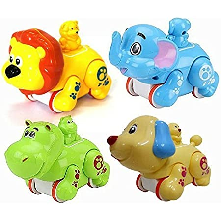 mayatra's colourful press and go friction animal toys (pack of 2)-best for return gifts- Multi color