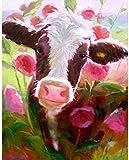 Punto de cruz Kit Bordados para niños y adultos Vaca flor abstracta,16 x 20 pulgadas DIY costura punto de cruz set decoración de pared principiante(11CT)