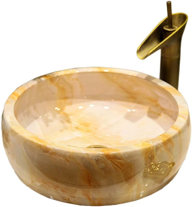 WINZSC Kunst über Zhler Becken Badezimmer Keramik Waschbecken Waschbecken Art Becken Waschbecken Stein Textur LO621307 (Farbe   Sink with Faucet)