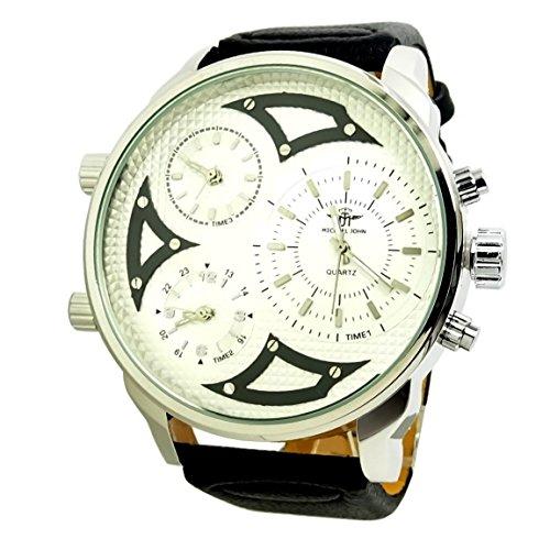 Reloj hombre Mr Daddy 2.0Negro Blanco desel piel plata 3bolillos horario XXL...